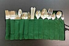 Damask Rose Heirloom Sterling Silver 53 piece silverware set with Green Wrap