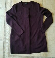 Women's Talbot's merino wool snap button cardigan sweater Burgundy Size M Petite