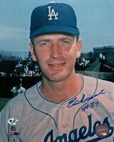 "Ed Roebuck Signed 8X10 Vintage Photo Autograph ""#37"" LA Dodgers Pose Auto COA"