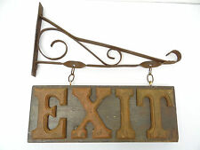 Vintage Used Old Metal Wrought Iron Wood Wooden Exit Sign Hanger Hanging Display