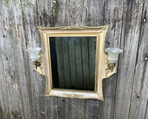 Vintage Medicine Cabinet w/Double Sconces -Gold Ornate Mirrored Inset Cabinet
