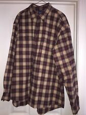 Mens Gap LS Brown Plaid Shirt heavy with two front pockets Sz L