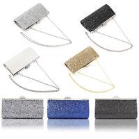 All-Over Glitter Lady Clutch Evening Handbag Shiny Rhinestones Top Clasp Bling