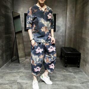 Mens Suits Summer 2-piece T-shirts Tops beach shorts Floral Cotton linen Loose