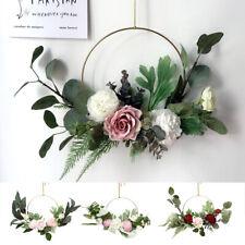 Artificial Rose Flower Wreath Hanging Silk Garland Wedding Home Party Door Decor