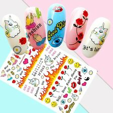 Nail Art Stickers Transfers 3D Self Adhesive **Rude Word** Unicorns (XF3063)