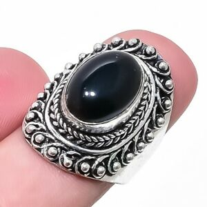 Black Onyx Gemstone Ethnic Handmade Silver Jewelry Ring Size 7.5 RR1983