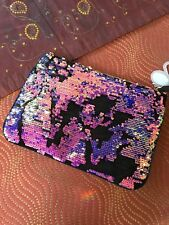 PRIMARK PINK PURPLE GLAMOUR IRIDESCENT BRUSHED SEQUIN BLACK VELVET CLUTCH BAG BN