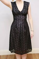 Jacqui E Black lilac lace dress, Knee-length, size 6 - 8