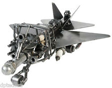 F- 22 Raptor Fighter Jet Hand Crafted Recycled Metal  Art Sculpture Figurine