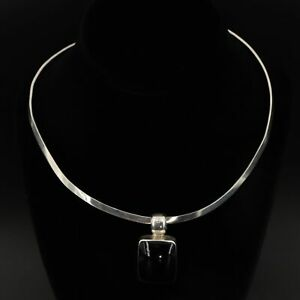 """VTG Sterling Silver - HEAVY TAXCO Black Onyx Pendant 16.5"""" Collar Necklace - 46g"""