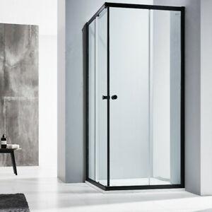6mm Corner Entry Double Sliding Shower door 760/800/860/900/1000/1200mm (Black)