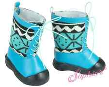 "Alpine Blue Knit Lace Up Winter Boots for 18"" American Girl Doll Shoes"