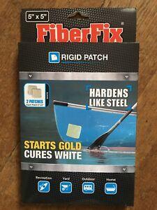 "FiberFix Rigid UV Patch Fiber Fix 2 patches 5"" x 5"" Cures White Tube Boat Repair"