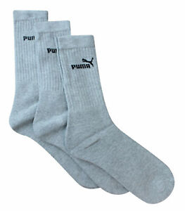 Puma 3 Pack Pairs Sport Unisex Crew Grey Adults Socks 883296 07 R