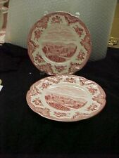 """Johnson Brothers """"Old Britain Castles"""" 2 Salad Plates 8""""  in pink"""
