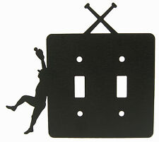 Boys Mens Baseball Double Switch Plate Black