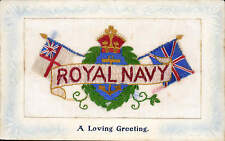 WW1 Embroidered Silk. Royal Navy. A Loving Greeting by Birn Bros, London.