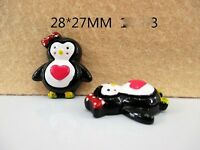 5 X 27mm PENGUIN FLAT BACK RESIN HEADBANDS BABY CLIPS HAIR BOWS CARD MAKING SALE