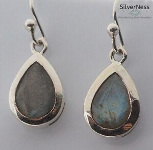 SilverNess Women's Jewellery Sterling Silver Labradorite Cabachon Earrings