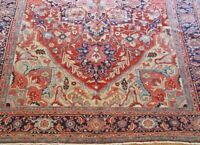 "8'7"" x 11'7"" Excellent  Antique Herizz Tribal Hand Knotted Wool Oriental Rug"