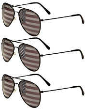 3 PAIRS BLACK Aviator USA American Flag Sunglasses United States stars stripes