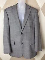 Hugo Boss Mens 42R Sport Coat Gray BirdsEye Tweed 80% Wool Two Button