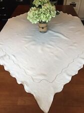 Vintage French Linen Ivory Tablecloth, Square, 51x51, Scalloped Edge (RF602)