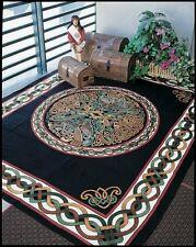 Handmade 100% Cotton Celtic Wheel of Life Tapestry Bedspread Black Tan Twin