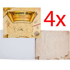 4 X PIRATE TREASURE MAP COLOUR IN ART TOY PROP ACCESSORY FOR FANCY DRESS COSTUME