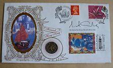 HONG KONG LABEL 1997 BENHAM COVER + $10 COIN SIGNED BY SIR MICHAEL SANDBERG