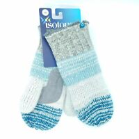 ISOTONER Women's One Size Stripe Knit Mittens Soft Fuzzy Sherpa Winter Blue Gray