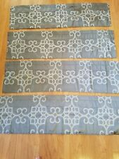 "Set (4)used panels Valance Curtain tops 15""x 54"" grey gray geometric design nice"