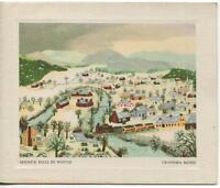 VINTAGE CHRISTMAS VILLAGE TRAIN HOOSICK FALL NY GRANDMA MOSES GREETING ART CARD