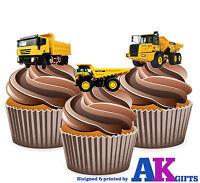 PRECUT Dumper Trucks 12 Edible Cupcake Toppers Decorations Birthday Boys Mens