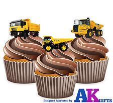 Dumper trucks garçons homme anniversaire 12 cup cake toppers comestible décorations