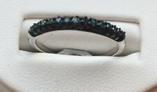 9ct White Solid Gold Blue Diamond Band Ring
