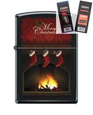 Zippo 218 merry christmas fireplace Lighter with *FLINT & WICK GIFT SET*