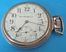 VINTAGE 16 SIZE BURLINGTON WATCH CO.SIDEWINDER POCKET WATCH 1908