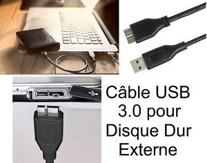 Cable Disque Dur Externe USB 3.0 MICRO B WD SEAGATE TOSHIBA SAMSUNG LACIE MAXTOR