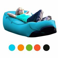 PORTAL Inflatable Lounger Air Beds Sleeping Sofa Couch for Travelling Beach Blue