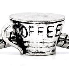 Coffee Cup Mug Charm European Bead Compatible for Most European Snake Chain Brac