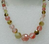 """Faceted 6-14mm multicolor Watermelon Tourmaline Gems Round Beads Necklace 18"""""""