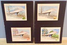 Set of Mid Century Modern Design Architect Drawing 4 Seasons