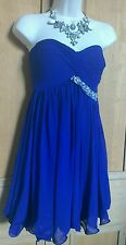 LIPSY V I P PURPLE DRESS FLOATY RUFFLED HEM PLEATED DETAIL BLING DRESS SIZE 8