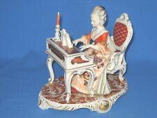 More details for kunst dresden art bristolia porcelain musician figurine - lady at harpsichord