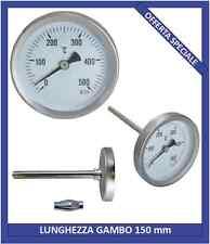 Termometro per forno, forno a legna, barbecue, bimetallico 0-500°C sonda 15cm