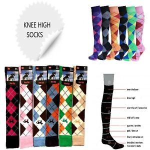 Ladies Argyle Design Horse Riding Cotton Knee high Polo Long Socks UK 4-7 lot