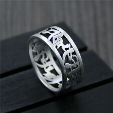 999 Sterling Silver Ring Women Men Bless Buddhist Words Band Ring US:7.5 S999