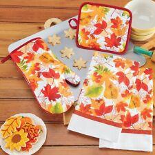 4 Pc Falling Leaves Thanksgiving Oven Mitt, Pot Holder & Kitchen Towel Set